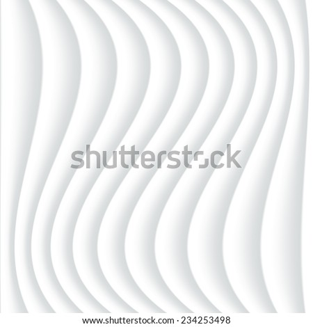 White seamless texture. Wavy background. Interior wall decoration. 3D Vector interior wall panel pattern. Abstract grey background of wavy lines. - stock vector