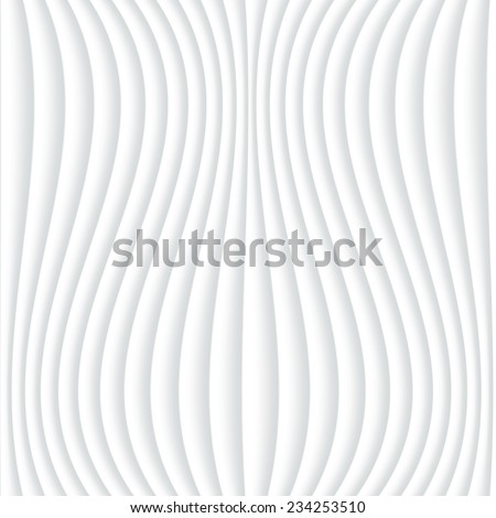White seamless texture. Wavy background. Interior wall decoration. 3D Vector interior wall panel pattern. Abstract grey and white background of wavy lines. Vector white background of abstract waves.  - stock vector