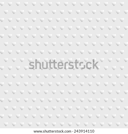 White seamless texture with hearts - stock vector
