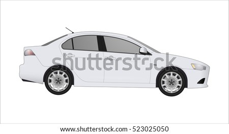 White Sedan Car, isolated on white background realistic car models with shadows and reflections, using web or print, logo, car symbol, icon or design for field of motor repairing car service