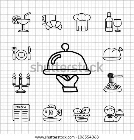 White series   Hand drawn Restaurant Icon set - stock vector