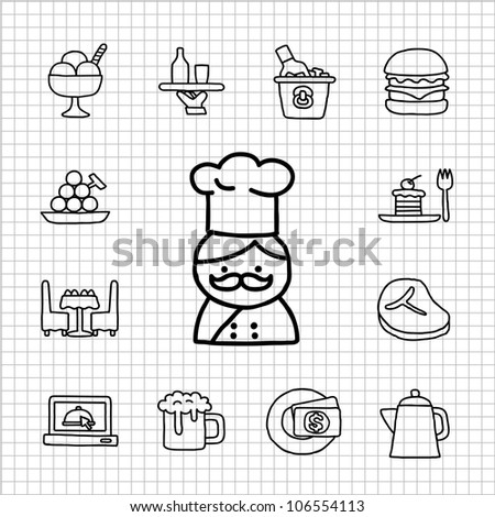 White series | Hand drawn Restaurant Icon set
