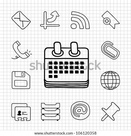 White Series | Office icon set - stock vector