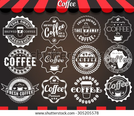 "White set of round vintage retro coffee labels and badges on blackboard.See more in set ""Labels"" of my portfolio"