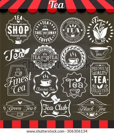 "White set of vintage retro tea elements styled design, frames, vintage labels and badges on blackboard.See more in set ""Labels"" of my portfolio - stock vector"