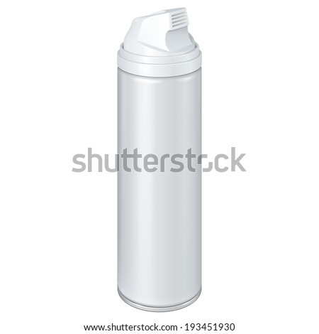 White Shaving Foam Aerosol Spray Metal 3D Bottle Can. Ready For Your Design. Product Packing Vector EPS10