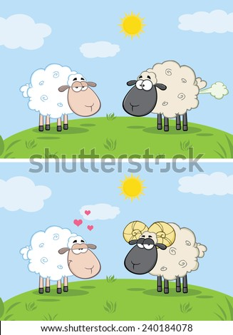 White Sheep In Love With Ram Sheep On A Meadow. Vector Collection Set - stock vector