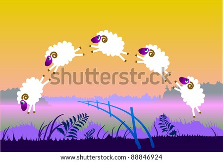 White sheep jump over fence on meadow at sunset - stock vector