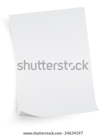 white sheet of paper - stock vector