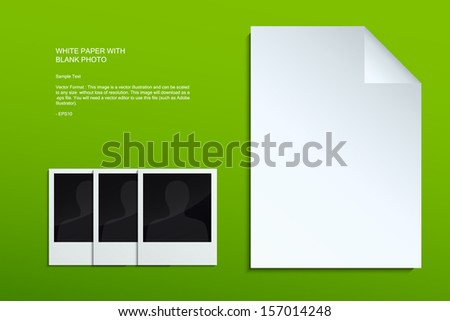 White sheet of paper and blank photo on green background - Vector illustration - stock vector