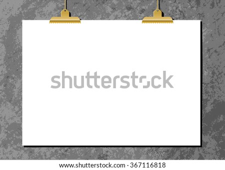 White sheet of paper with golden clips against an old concrete wall. Modern and stylish horizontal poster mockup, A4 size, scalable to any dimension. - stock vector