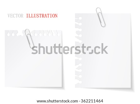 White sheets of note papers and paper clips, ready for your message. Vector illustration.  - stock vector