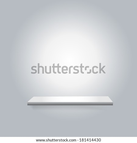 White shelf on the wall. Background empty room. With room for your text and image. Vector illustration of a trade show booth for designers - stock vector