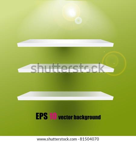 White shelves on the green background - stock vector