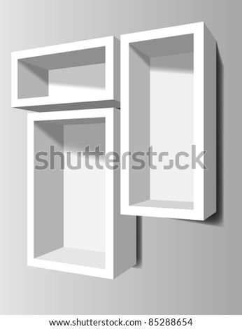 White shelves on the wall - stock vector