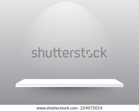 white shelves with background - stock vector