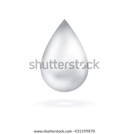 White shining drop icon. Vector illustration. Glossy droplet, pure essence, cream isolated