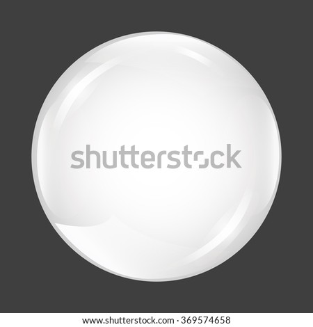 White shiny sphere on dark background. Abstract circle, ball. vector illustration. Realistic 3d pearl - stock vector