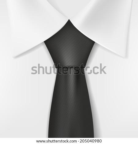 white shirt and black tie - stock vector