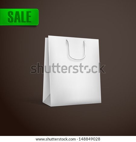 white shopping bag - stock vector