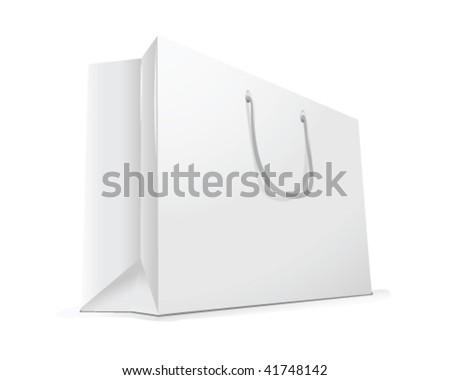 white shopping bag - stock vector
