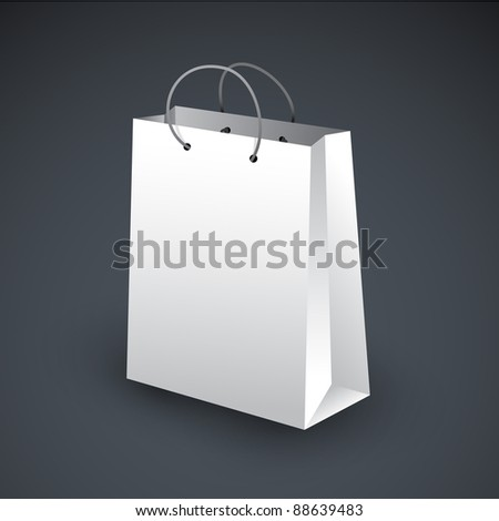 White shopping bag icon on a dark background - stock vector
