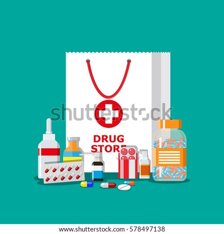 White shopping bag with different medical pills and bottles, healthcare and shopping, pharmacy, drug store. Vector illustration in flat style