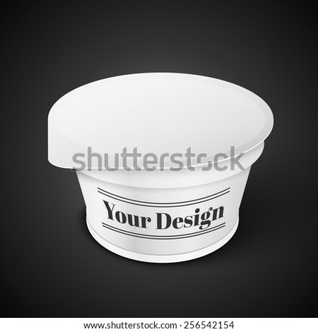 White Short And Stout Tub Food Plastic Container For Dessert, Yogurt, Ice Cream, Sour Sream Or Snack. Ready For Your Design. Product Packing Vector EPS10 - stock vector