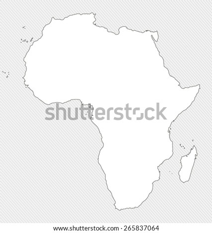 White silhouette map of Africa on gray background - stock vector