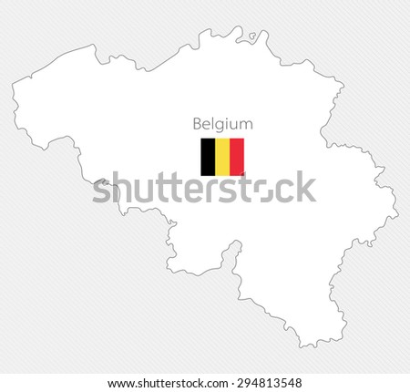 White silhouette map of Belgium on a gray background - stock vector
