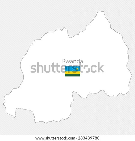 White silhouette map of Rwanda on a gray background - stock vector