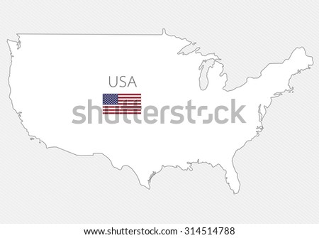 White silhouette map of USA on a gray background. North America