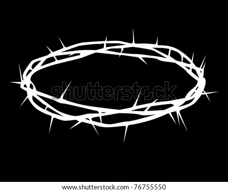 white silhouette of a crown of thorns on a black background - stock vector