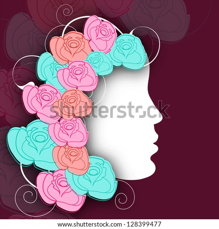 White silhouette of a girl face with colorful roses decorated her hairs for Happy women's day.