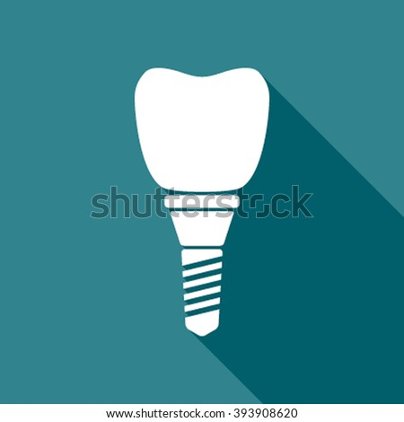 White silhouette of dental implant in flat style with replacement crown for dentistry concept design. tooth implant icon - stock vector
