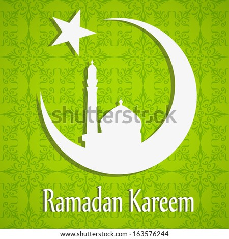 White silhouette of Mosque or Masjid on moon with stars on abstract green floral background, concept for Muslim community holy month Ramadan Kareem. Vector eps10 - stock vector