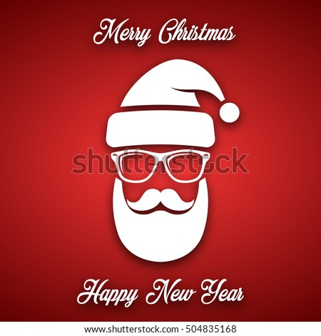 White silhouette of Santa Claus with a cool beard, mustache and glasses on a red background