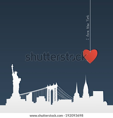 White silhouette of skyline of New York with heart, paper-cut - stock vector