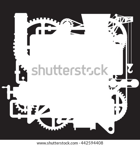 White silhouette of the complex fantastic machine on black. Industrial and Steampunk style poster and  background. Vector illustration - stock vector