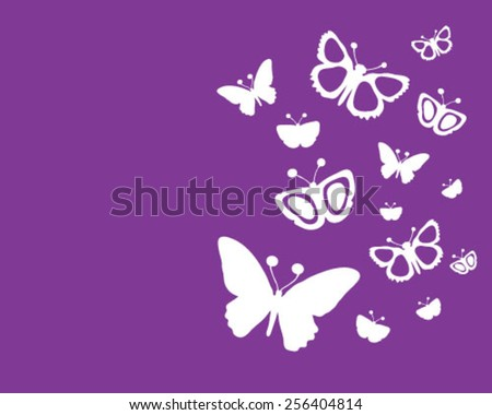 White silhouettes of butterflies on a purple background, vector - stock vector