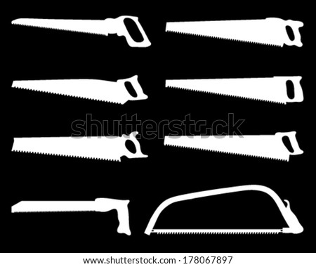 White silhouettes of handsaw on a black background, vector