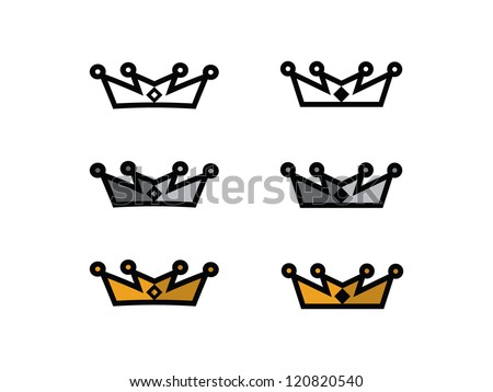 White, Silver and Gold Crowns. - stock vector