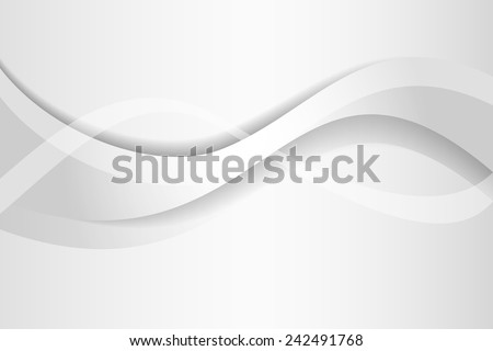 White, silver design with a clean elegant wave pattern for business concepts, presentations with creative, technological style. Modern brochure, website backgrounds. - stock vector