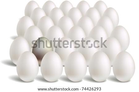 white silver eggs rows - stock vector