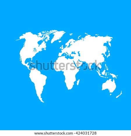 White similar vector Political world map on blue background. World Map vector. World Map flat. World Map blank.  World Map travel.  World Map template. World Map info graphic. World Map clean.  - stock vector