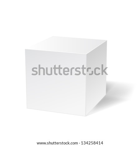 white simple cube on white - stock vector