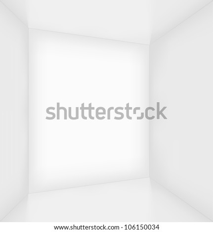 White simple empty room interior. Vector illustration - stock vector