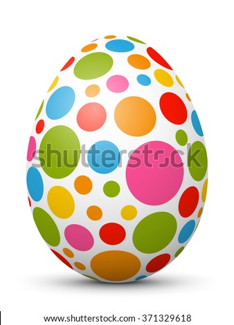 White Single Vector Easter Egg with Abstract Colorful Pattern - Beautiful Close Up Design with Smooth Shadow on the Ground. Dotted - Points. Painted in Vivid Colors.