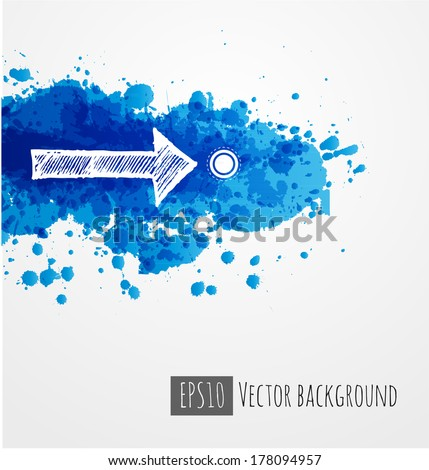 White sketch arrow and bright abstract blue splashes on white background.