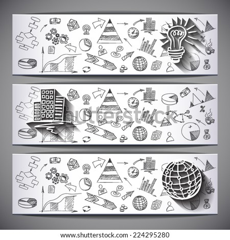 White sketched business Banners: Idea, Globe,Building  - vector illustration - stock vector